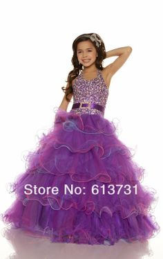 2013 Babyonline Sexy Halter New Organza Belted sequined Ball Gown Flower Girl Pageant dresses 81599 Flower Girl Gown, Princess Flower Girl Dresses, Wedding Flower Girl Dresses, Princess Frocks, Flower Girls, Little Girls Easter Dresses, Little Girl Pageant Dresses, Girls Dresses, Nice Dresses