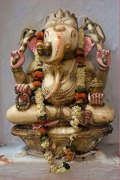 Lord Ganesh Ganesha is one of the symbol of human perfection found in hinduism : elephant head gives him best quality of senses organs -eyes, ear, nose, mouth, trunk (as the sens of touch) - human. Sri Ganesh, Lord Ganesha, Lord Shiva, Indian Gods, Indian Art, Om Gam Ganapataye Namaha, Elephant Head, Hindu Deities, Hindu Art