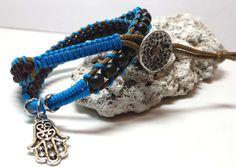 Bracelet avec billes de bois et verre- tons bleu et brun - Double Wrap Bracelet de la boutique JoyaFab sur Etsy