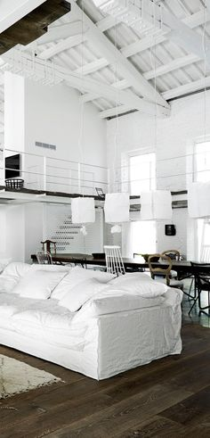 Living Room : Old tobacco factory transformed into an industrial loft via cocolapinedesign. Living Room Designs, Living Spaces, Living Rooms, Warehouse Living, Living Room Decor Inspiration, Loft Style, Decoration Design, Living Room Remodel, Loft Spaces