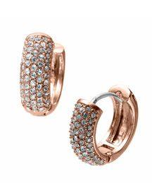 Y0Y0Q Michael Kors Golden Huggie Earrings with Pave Detail