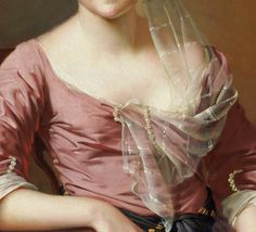 Fichu draped from hair to front on a pink silk bodice. Note how the pearls intertwine at the neckline and at the elbow of the sleeves. Detail from Portrait of a Woman  Joseph Wright (Wright of Derby), 1770.