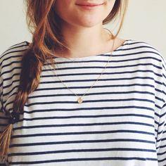Stripes + dainty necklace