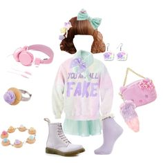 Pastel Coordination, Fairy Kei (mint and lilac) by chamalow-kawaii on Polyvore featuring moda, Topshop, Urbanears, Dr. Martens, Hello Kitty, women's clothing, women's fashion, women, female and woman