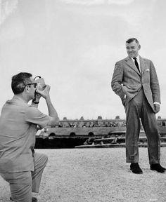 Letting a fan take his photo in Paris, 1953