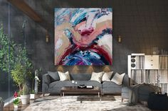 Items similar to Large Painting on Canvas,Extra Large Painting on Canvas,painting wall art,large interior decor,large art on canvas on Etsy Oversized Canvas Art, Large Canvas Art, Large Painting, Texture Painting, Large Art, Original Artwork, Original Paintings, Bathroom Wall Art, Contemporary Artwork