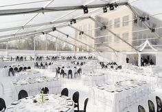 Ghost chairs/Acrylic chairs look great in this clear top tent we designed!