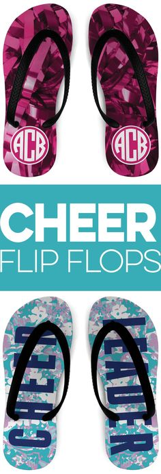 No matter how many times we try to deny it. There is nothing like slipping on a pair of flip flops. With these Cheerleading flip flops they are not only comfortable but also stylish. More Designs and Colors are available. Cheerleading Accessories, Cheerleading Bags, Custom Socks, Summer Shoes, Flip Flops, Slip On, Footwear, Pairs, Times