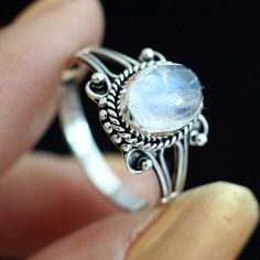 Blue moon stone antiqued 925 sterling silver ring Zib735P1006 by artsoniapi on Zibbet