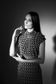 Fashion as Art - laser cut leather dress with sculptural 3D textures; innovative fashion // Iris van Herpen