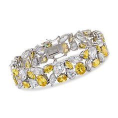 Glistening White and Yellow CZ Bracelet In Sterling Silver. Everyone will be fooled that you aren't wearing diamonds. >>Click on the pin to shop more Yellow CZ jewelry.