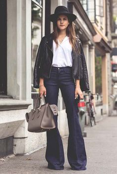 fall / winter - street style - street chic style - casual outfits - fall outfits - office wear - work outfits - black leather jacket + white shirt + dark flare jeans + grey handbag + black fedora