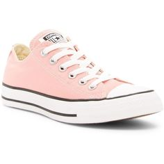 Converse Chuck Taylor Ox Low Top Sneaker (Unisex) ($25) ❤ liked on Polyvore featuring shoes, sneakers, daybreak pink, low profile sneakers, canvas sneakers, round cap, striped sneakers and canvas lace up shoes