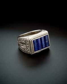 Konstantino Men's Prometheus Silver 6.00 ct. tw. Lapis Etched Ring is on Rue. Shop it now.