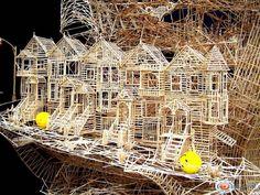 Scott Weaver spent 34 years creating the city of San Francisco using over one million toothpicks. Craft Stick Crafts, Paper Crafts, Craft Sticks, Paper Art, Toothpick Sculpture, Popsicle Stick Houses, Pick Art, Cardboard Art, Environmental Art