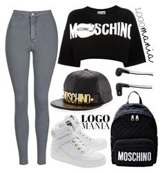 """""""Moschinno girl"""" by anchilly23 ❤ liked on Polyvore featuring Moschino, Topshop and Bang & Olufsen"""