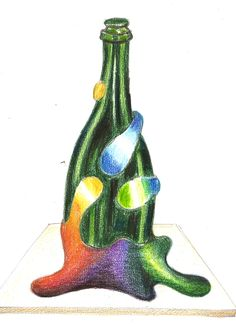 Boceto de botella decorada en trencadís o mosaicos nº2 http://joanserinya.blogspot.com.es/
