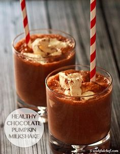 Healthy Chocolate Pumpkin Milkshake is a totally healthy treat! Sweeten with stevia or xylitol for Phase 3 (top with whipped coconut cream, if you like!) and Phase 1 (use rice milk).