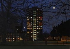 Tower at Night, London Fields. By James Mackinnon London Art, East London, London Fields, Brick Lane, Skyscraper, Past, Illustration Art, Tower, Fine Art