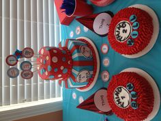 Thing 1 and Thing 2 cake for sweet little twin boys.