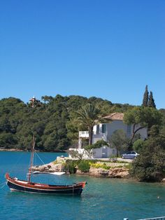Sophia Vebo - Porto Heli, her summer house with the Tower of Ellis in the background.
