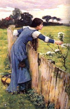 """""""Flower Picker"""". (by John William Waterhouse)."""