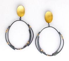 Gold Dot Hoop Earrings by Sydney Lynch. Gold Dot Hoop earrings with *oxidized:oxidize* sterling silver, 18k & 22k gold.