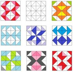 Motifs Granny Square, Half Square Triangle Quilts, Square Quilt, Barn Quilt Designs, Barn Quilt Patterns, Quilting Designs, Quilting Patterns, Sampler Quilts, Scrappy Quilts