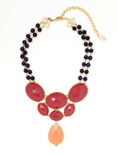 Gold & Dyed Jade Double Row Pendant Necklace by David Aubrey on Gilt.com