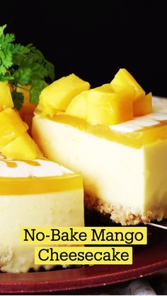 Easy Desserts, Delicious Desserts, Mango Dessert Recipes, Yummy Food, Mango Recipes, Sweet Recipes, Fun Baking Recipes, Cooking Recipes, Mango Cheesecake