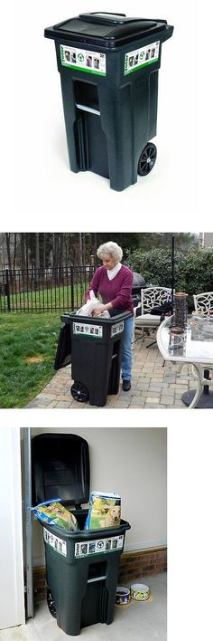 trash cans and wheeled trash can cart 32 gallon rolling waste garbage container