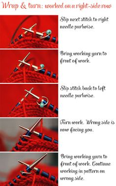 working a wrap & turn (W&T) on a right-side row #knitting