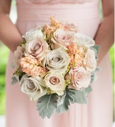 Beautiful Bridesmaid Bouquets - Earl Grey Roses with Stock