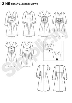 2145 Simplicity Project Runway Collection Dress (1.50 x 1.70 m) with short sleeves (1.15 x 0.40 m), mid sleeves (1.50 x 0.60 m) or long sleeve (1.15 x 0.80 m) and wrap/drape (1.15 x 0.70 m)  56 cm zip hook and eye