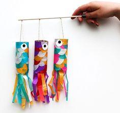 flying japanese carp from toilet paper rolls Japan Boy's Day celebration craft