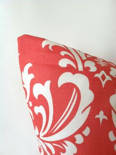 Bright & Elegant Coral Damask! Coral Damask Pillow Cover  20 x 20 One Damask by PillowStyles, $19.50