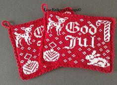 """Ravelry: Jul i skogen pattern by Line Eriksen """"Christmas in the Woods"""" Crochet Potholders, Crochet Doilies, Knitting Charts, Knitting Patterns, Christmas Knitting, Christmas Sweaters, Crochet Pattern, Knit Crochet, Fair Isle Knitting"""