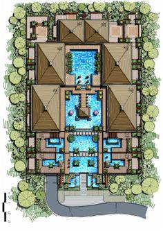 Terraced Apartment & cascading Landscape Design, Freehand Landscape Master Plan