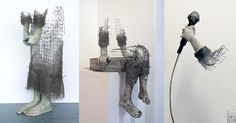 Norwegian artist Lene Kilde seeks inspiration in the emotions of children, deftly capturing brief moments in their lives distilled into minimalistic wire mesh sculptures. The pieces focus almost entirely on the hands and feet of her subjects that dissolve into nothingness as they go about various ac