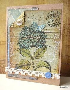 Jacqueline's Craft Nest: I was inspired by.. Carole showcasing the new Hydrangea stamp from Hero Arts