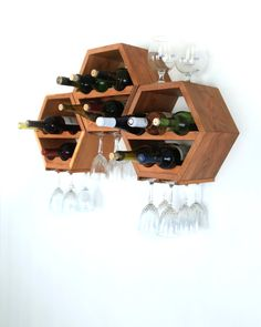 Hanging Wine Rack - Wood Wine Rack - Wine Storage - Modern Wine Rack - Kitchen Decor - Modular Wine Rack - Great gift idea - Set of 3