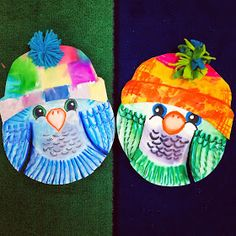 smART Class: Finished Day of the Dead sculptures, Christmas Break and What's… Animal Art Projects, Winter Art Projects, January Art, Owl Kids, Classroom Art Projects, Paper Plate Crafts, Paper Plates, Fabric Postcards, Autumn Crafts