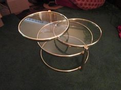 Mid Century Modern Milo Baughman Eames Era Brass & Glass 3 Ring Table-Swivel