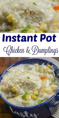 The Instant Pot makes cooking so much easier. In this chilly Fall Season, theres nothing better than to warm yourself up with an Instant Pot soup Healthy Easy to do. Instapot Chicken And Dumplings, Dumplings For Soup, Dumpling Recipe, Creamy Chicken And Dumplings, Instant Pot Pressure Cooker, Pressure Cooker Recipes, Pressure Cooking, Tasty Vegetarian, Instant Pot Dinner Recipes
