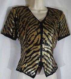 Cache Sequin Gold & Black Animal Print Short Sleeve Jacket Medium NWT Orig $95