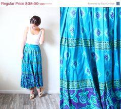 20% OFF HALLOWEEN SALE Vintage Xsmall// Navajo southwestern turquoise bohemian maxi vacation skirt