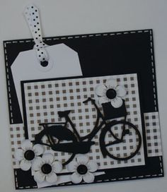 black die cut bicycle layered onto black or gray/white gingham paper Making Greeting Cards, Greeting Cards Handmade, Paper Cards, Diy Cards, Card Making Inspiration, Making Ideas, Hexagon Cards, Marianne Design Cards, Bicycle Cards