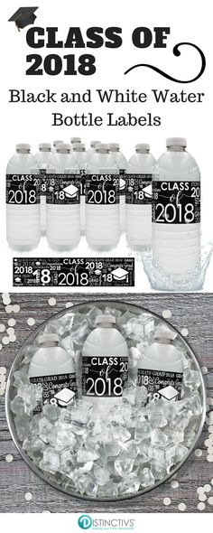 Black And White Class Of 2018 Graduation Water Bottle Labels 24 Count