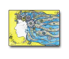 Yellow & Blue Print,  Home and Wall art decor, Colourful Art Flowers Girl, Decorative drawing by DHANAdesign on Etsy