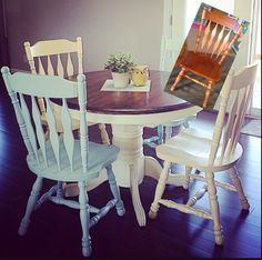 I can't stand painting spindles ... So spray paint works wonders on these dinning room kitchen chairs from a garage sale .. Did some with a valspar yellow and a robins egg type color on the others..love the tones together